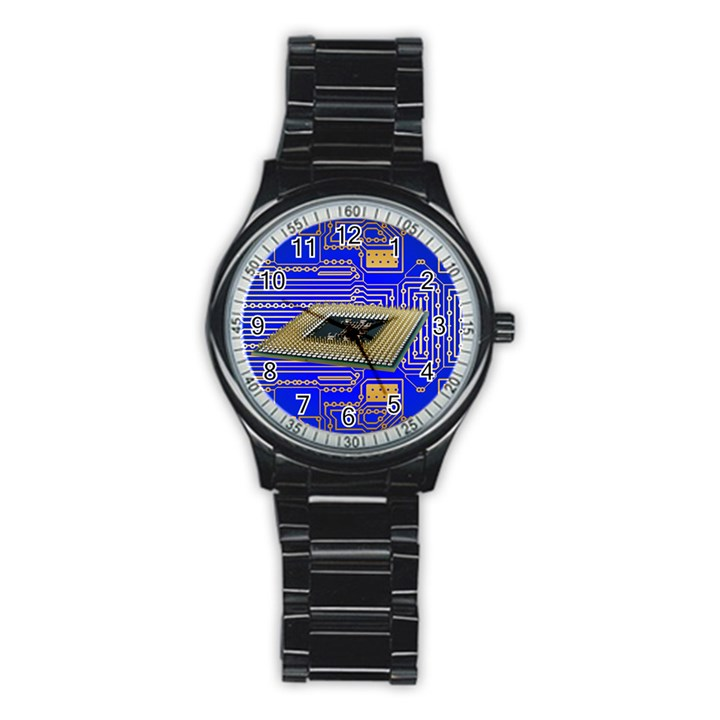 Processor Cpu Board Circuits Stainless Steel Round Watch