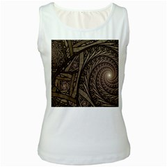 Abstract Pattern Graphics Women s White Tank Top