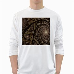 Abstract Pattern Graphics White Long Sleeve T Shirts