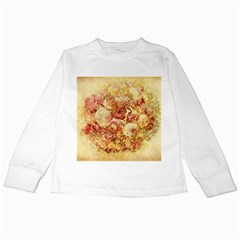 Vintage Digital Graphics Flower Kids Long Sleeve T Shirts