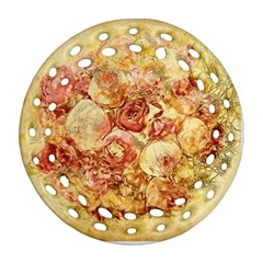 Vintage Digital Graphics Flower Ornament (round Filigree)