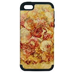 Vintage Digital Graphics Flower Apple Iphone 5 Hardshell Case (pc+silicone)