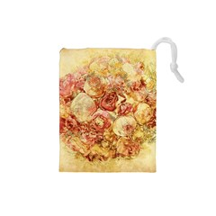 Vintage Digital Graphics Flower Drawstring Pouches (small)