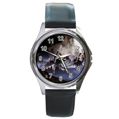Mountains Moon Earth Space Round Metal Watch