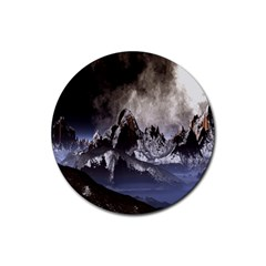 Mountains Moon Earth Space Rubber Coaster (round)