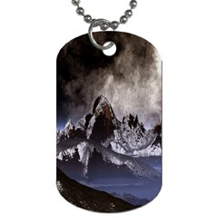 Mountains Moon Earth Space Dog Tag (two Sides)