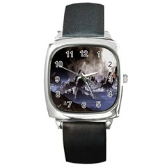 Mountains Moon Earth Space Square Metal Watch