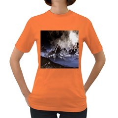 Mountains Moon Earth Space Women s Dark T Shirt