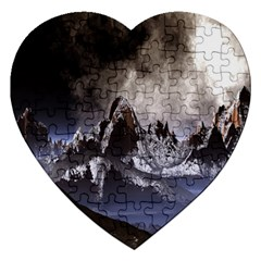 Mountains Moon Earth Space Jigsaw Puzzle (heart)
