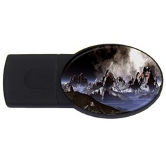 Mountains Moon Earth Space Usb Flash Drive Oval (4 Gb)
