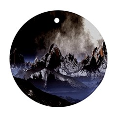 Mountains Moon Earth Space Round Ornament (two Sides)