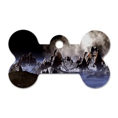 Mountains Moon Earth Space Dog Tag Bone (two Sides)