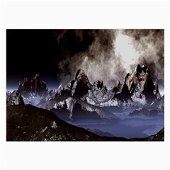 Mountains Moon Earth Space Large Glasses Cloth (2 Side)