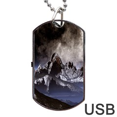 Mountains Moon Earth Space Dog Tag Usb Flash (one Side)