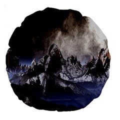 Mountains Moon Earth Space Large 18  Premium Round Cushions