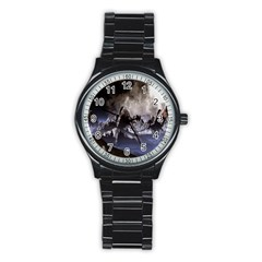 Mountains Moon Earth Space Stainless Steel Round Watch