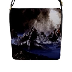 Mountains Moon Earth Space Flap Messenger Bag (l)