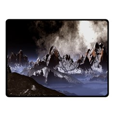 Mountains Moon Earth Space Double Sided Fleece Blanket (small)