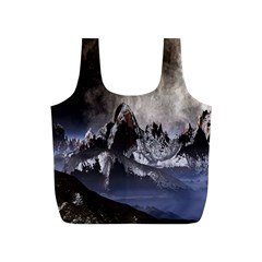 Mountains Moon Earth Space Full Print Recycle Bags (s)