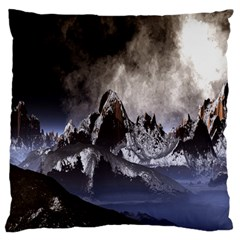Mountains Moon Earth Space Large Flano Cushion Case (one Side)