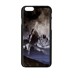 Mountains Moon Earth Space Apple Iphone 6/6s Black Enamel Case