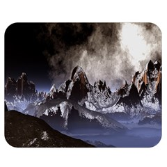 Mountains Moon Earth Space Double Sided Flano Blanket (medium)