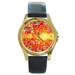 Board Conductors Circuits Round Gold Metal Watch