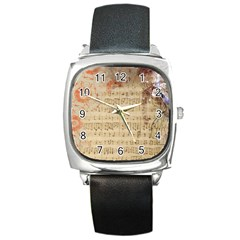 Art Collage Design Colorful Color Square Metal Watch