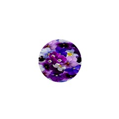 Graphic Background Pansy Easter 1  Mini Buttons