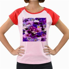 Graphic Background Pansy Easter Women s Cap Sleeve T Shirt