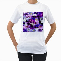 Graphic Background Pansy Easter Women s T Shirt (white) (two Sided)