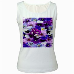 Graphic Background Pansy Easter Women s White Tank Top