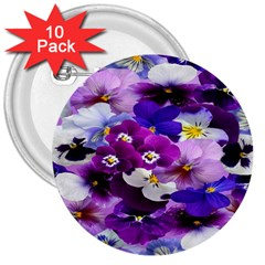 Graphic Background Pansy Easter 3  Buttons (10 Pack)