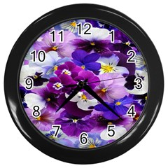 Graphic Background Pansy Easter Wall Clocks (black)