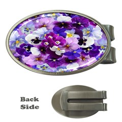 Graphic Background Pansy Easter Money Clips (oval)