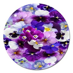 Graphic Background Pansy Easter Magnet 5  (round)