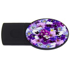 Graphic Background Pansy Easter Usb Flash Drive Oval (4 Gb)