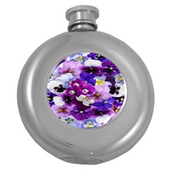 Graphic Background Pansy Easter Round Hip Flask (5 Oz)