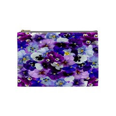 Graphic Background Pansy Easter Cosmetic Bag (medium)