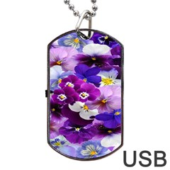 Graphic Background Pansy Easter Dog Tag Usb Flash (two Sides)