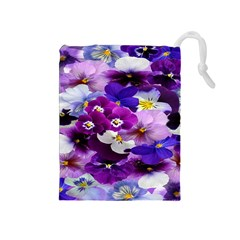 Graphic Background Pansy Easter Drawstring Pouches (medium)
