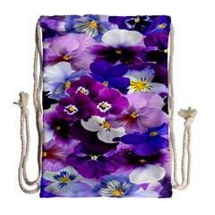 Graphic Background Pansy Easter Drawstring Bag (large)