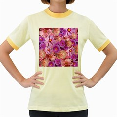 Flowers Blossom Bloom Nature Color Women s Fitted Ringer T Shirts