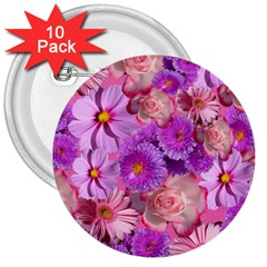 Flowers Blossom Bloom Nature Color 3  Buttons (10 Pack)