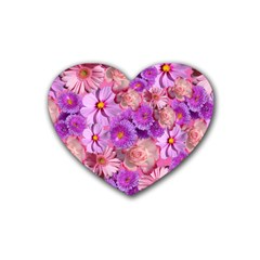 Flowers Blossom Bloom Nature Color Heart Coaster (4 Pack)