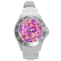 Flowers Blossom Bloom Nature Color Round Plastic Sport Watch (l)