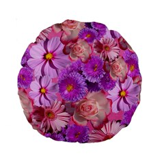 Flowers Blossom Bloom Nature Color Standard 15  Premium Round Cushions