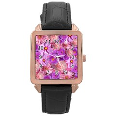 Flowers Blossom Bloom Nature Color Rose Gold Leather Watch