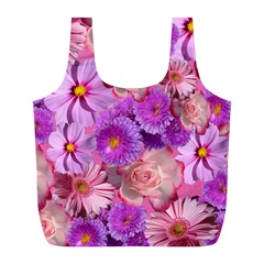 Flowers Blossom Bloom Nature Color Full Print Recycle Bags (l)