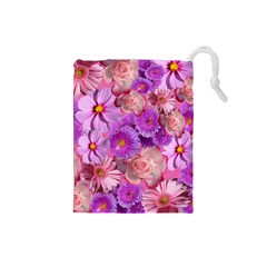 Flowers Blossom Bloom Nature Color Drawstring Pouches (small)